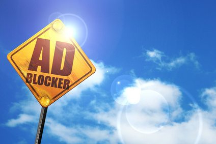 Ad blocker sign with sunny background
