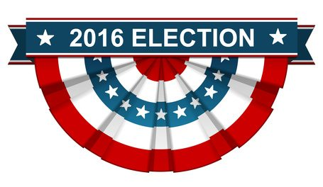 2016 election on bunting american flag with blue ribbon