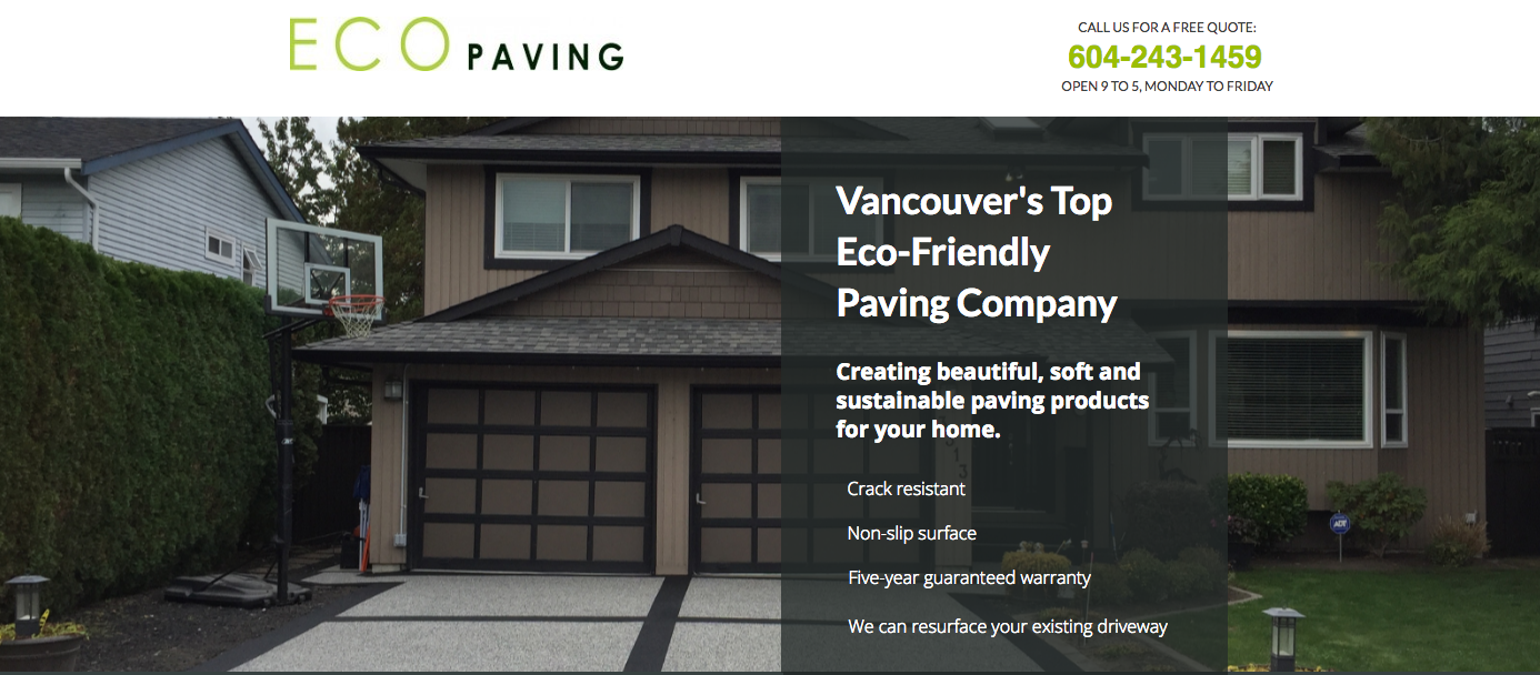 Eco paving landing page