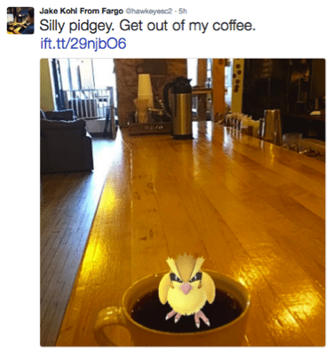 Pidgey Pokemon inside a coffee mup