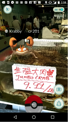 Krabby Pokemon location in Pokemon Go