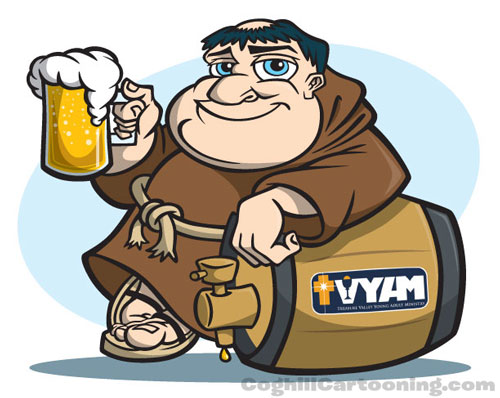 Monk with beer and keg