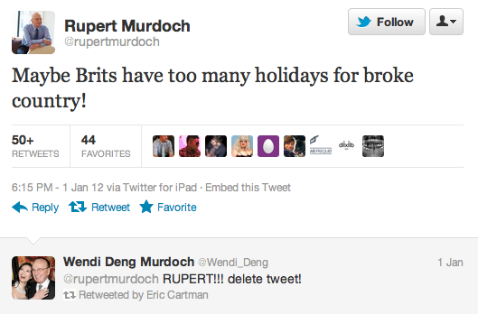 murdoch deng tweet1 Twitter lessons courtesy of the Murdochs